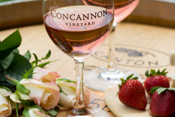 Concannon's Rose of Petite Sirah with roses and strawberries